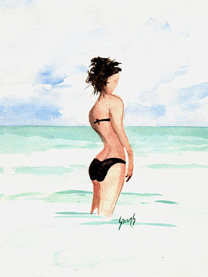 Painting - Black Bikini by Sam Sidders