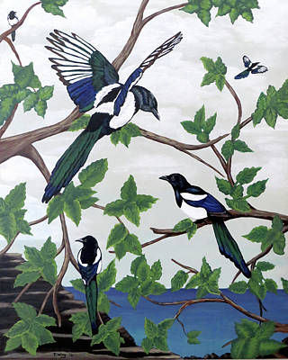 Black Billed Magpies Art Print by Teresa Wing