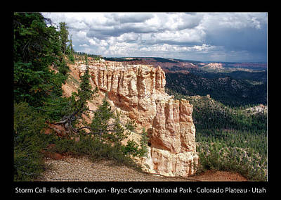Photograph - Black Birch Canyon Bryce Canyon Utah 01 Text Black by Thomas Woolworth