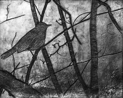 Mixed Media - Black Bird Encaustic by Roseanne Jones