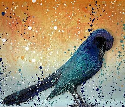 Contemplative Painting - Black Bird Paint Splatter  by Barbara Chichester