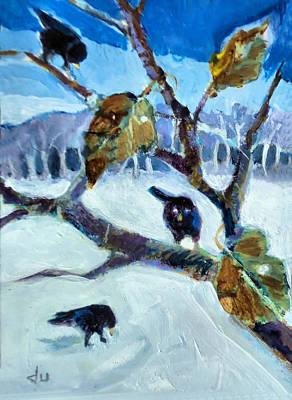 Painting - Black Birds by Diane Ursin