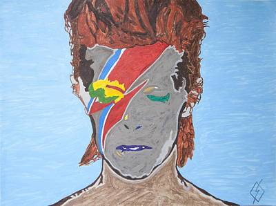Singer Songwriter Painting - Black Bowie by Stormm Bradshaw