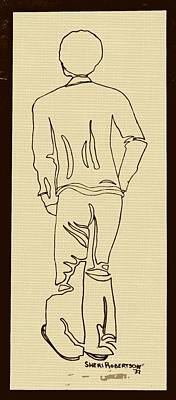 Afro American Art Drawing - Black Boy Standing On Table by Sheri Buchheit