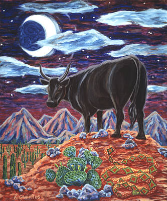 Diamondback Painting - Black Bull by Karin Griffiths