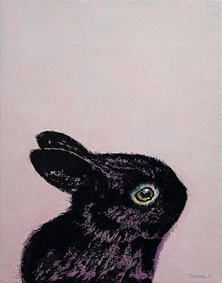 Hare Wall Art - Painting - Black Bunny by Michael Creese