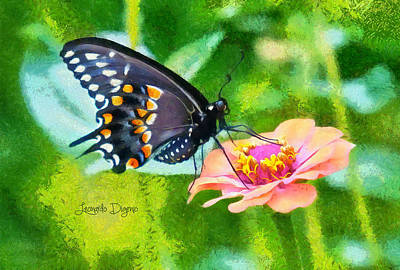 Fly Painting - Black Butterfly by Leonardo Digenio