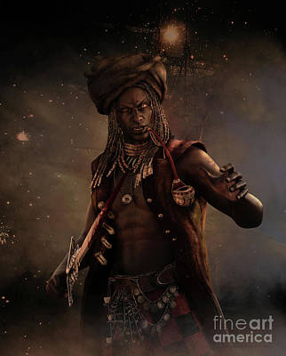 Caesar Digital Art - Black Caesar Pirate by Shanina Conway