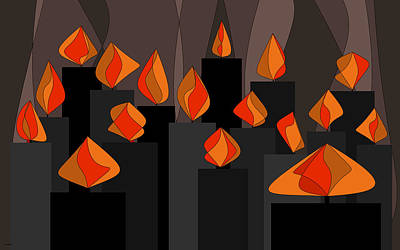 Painting - Black Candles With Orange Flames by Val Arie