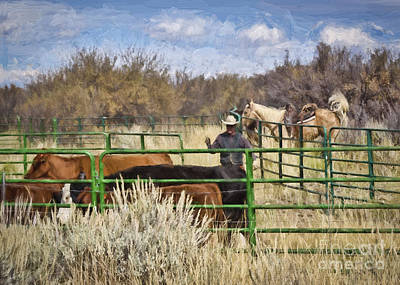 Black Canyon Round Up Art Print by Janice Rae Pariza