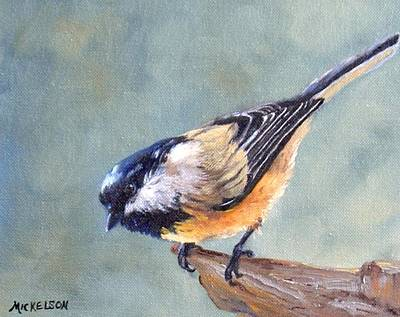 Black Capped Chickadee Art Print by Debra Mickelson