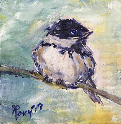 Yellow Painting - Black Capped Chickadee by Roxy Rich