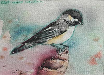 Painting - Black-capped Chickadee by Ruth Kamenev
