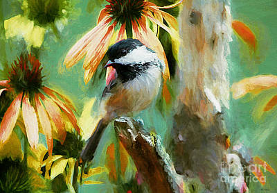 Chickadee Digital Art - Black Capped Chickadee by Tina  LeCour