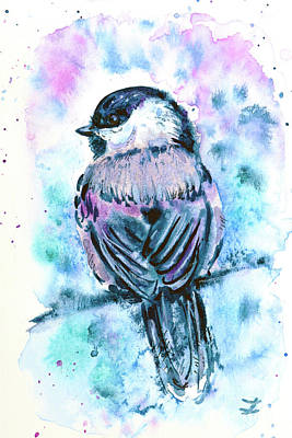 Chickadee Painting - Black-capped Chickadee by Zaira Dzhaubaeva