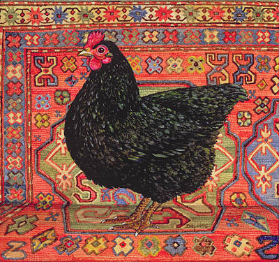 Persian Carpet Painting - Black Carpet Chicken by Ditz