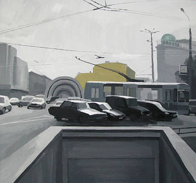 Painting - Black Cars At The Subway Station Krasnye Vorota by Lena Krasotina