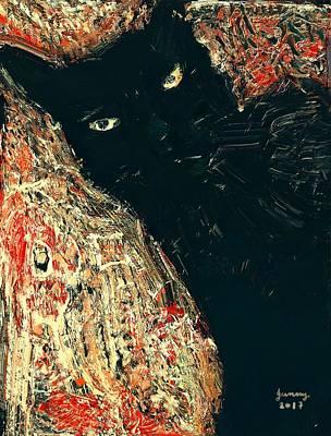 Gummy Digital Art - Black Cat 01 by Wanphen Jae Gummy