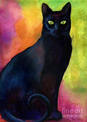 Watercolor Pet Portraits Painting - Black Cat 9 Watercolor Painting by Svetlana Novikova