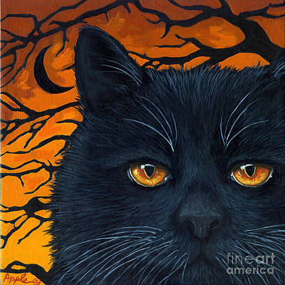 Black Cat And Moon Print by Linda Apple