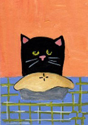 Painting - Black Cat And Pie by Christine Quimby
