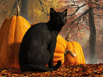 Domestic Animals Digital Art - Black Cat At Halloween by Daniel Eskridge