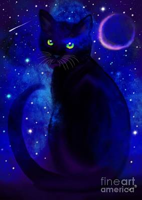 Art Print featuring the painting Black Cat Blues  by Nick Gustafson
