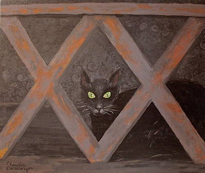 Painting - Black Cat by Claudia Croneberger