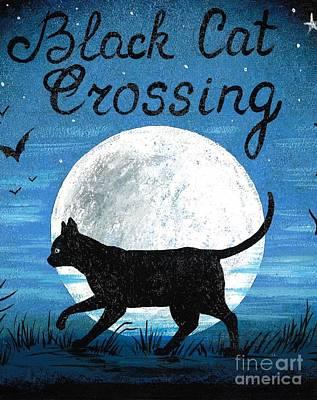 Painting - Black Cat Crossing by Margaryta Yermolayeva