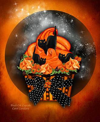 Black Cat Cupcake Art Print by Carol Cavalaris
