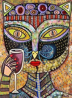 Black Cat Drinking Red Wine Art Print