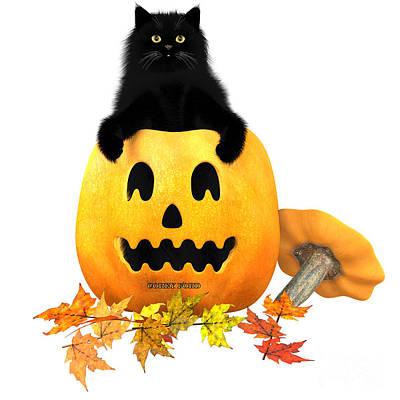 House Pet Digital Art - Black Cat Halloween Autumn Leaves by Corey Ford