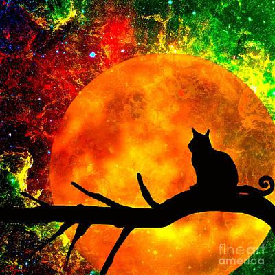 Painting - Black Cat Harvest Moon by Saundra Myles