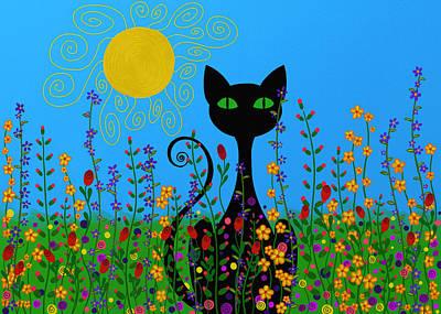 Floral Digital Art Digital Art - Black Cat In Flowers by SharaLee Art