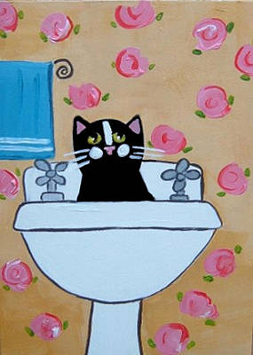 Black Cat In Sink Art Print by Christine Quimby