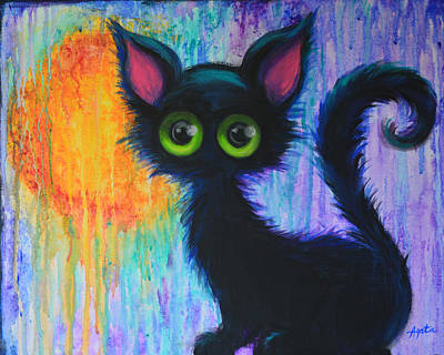 Painting - Black Cat In The Rain by Agata Lindquist