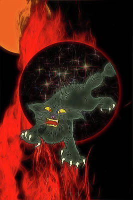 Digital Art - Black Cat Magic by John Haldane
