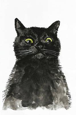 Painting - Black Cat by Masha Batkova