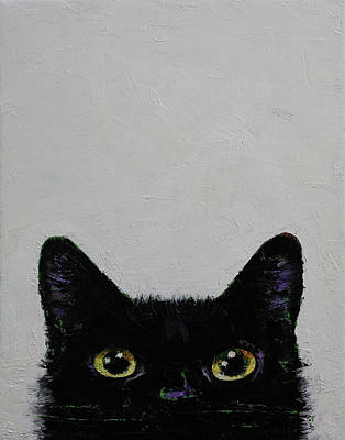 Trippy Painting - Black Cat by Michael Creese