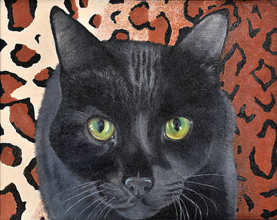 Headstudy Painting - Black Cat On A Leopard Rug by Valerie  Evanson