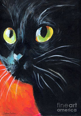 Svetlana Novikova Art Painting - Black Cat Painting Portrait by Svetlana Novikova