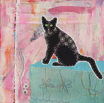 Black Cat Pink Wall Original by Robin Luther