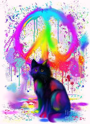 Digital Art - Black Cat Rainbow Peace by Nick Gustafson
