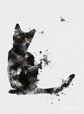 Black Cat Art Print by Rebecca Jenkins