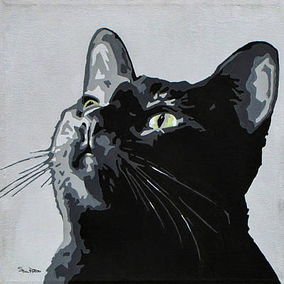Cat Painting - Black Cat by Slade Roberts