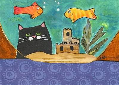Painting - Black Cat Spying The Goldfish by Christine Quimby