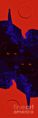 Photograph - Black Cat Under A Blood Red Moon by Jeff Breiman