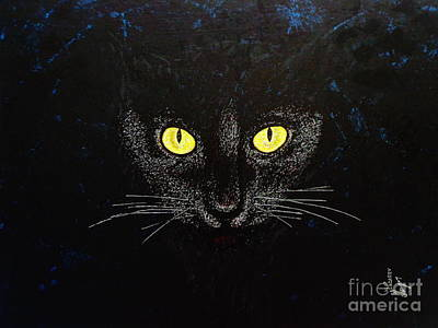 Painting - Black Cat by Viktor Lazarev