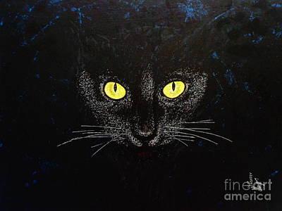 Painting - Black Cat by Viktor Lazarev