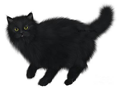 House Pet Digital Art - Black Cat Walking by Corey Ford